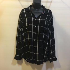 Stylus Women's XL black/ white stripe rayon blouse